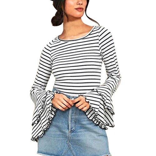 Rcool Langarm Gestreift Tops Casual Patchwork Lose Tunika T-Shirt Oberteil (Weiß, L) (Puff-Ärmel Top Gestreift,)