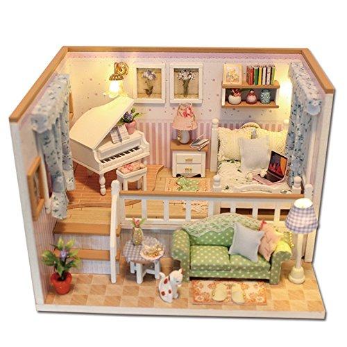 Spilay DIY Miniatur Puppenhaus Holzmöbel Kit,Handgemachte Mini Moderne Coffee Store Modell mit LED-Licht & Spieluhr,1: 24 Scale Creative Puppenhaus Spielzeug für Kinder Geschenk