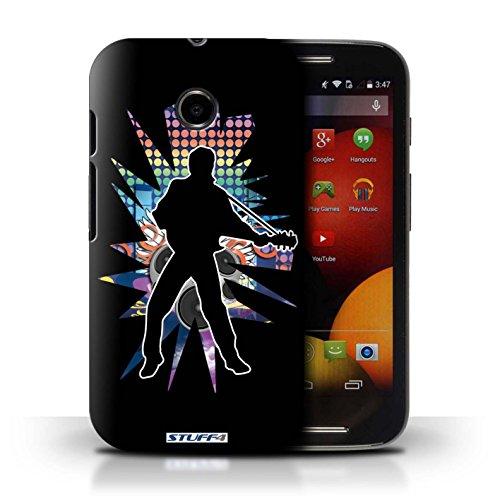 Kobalt® Imprimé Etui / Coque pour Motorola Moto E (2014) / Atteindre Blanc conception / Série Rock Star Pose Elvis Noir