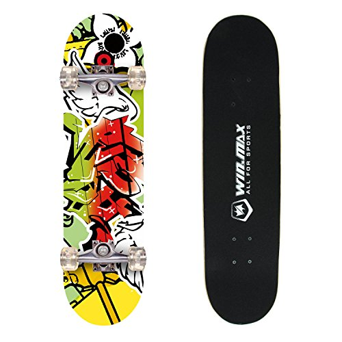 Senmi WIN.MAX 9 Plies Maple Double Kick Concave Deck Grip Tape Skull Skating Skateboard Red Skull for Primary/Intermediate