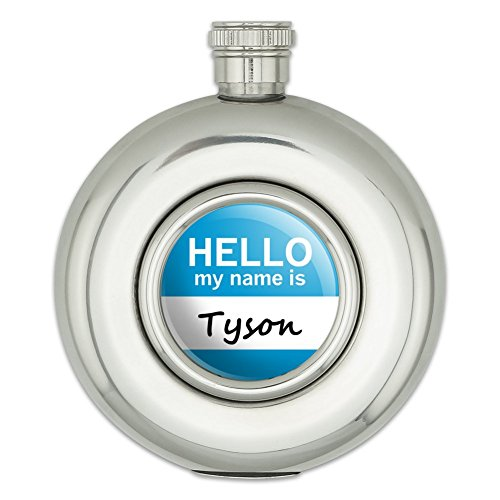 round-stainless-steel-5oz-hip-flask-hello-my-name-is-to-ty-tyson-hello-my-name-is