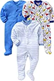 Gopuja New Born Baby Multi-Color Long Sleeve Cotton Sleep Suit Romper for Boys and Girls Pack of 3 Rompers (Blue, 9-12 Months)