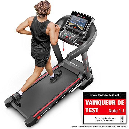 Sportstech VAINQUEUR DE Test Tapis de Course Professionnel F37 système d'autolubrification, Compatible avec appli de Fitness Smartphone, Inclinaison 15%, Fonction Bluetooth USB MP3, 150 kg Max.