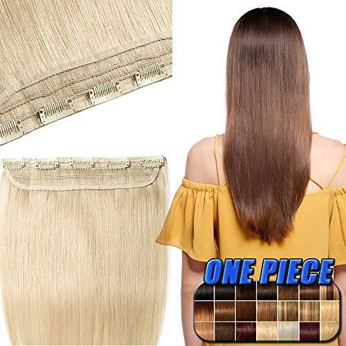 40-60cm extension clip capelli veri biondi 100% remy human hair - fascia unica larga 25cm capelli naturali lisci umani 50cm/50g con 5 clip #60 biondo platino
