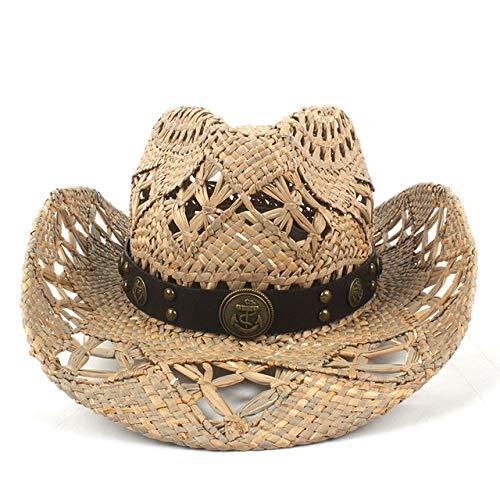 zlhcich Gorra para la Venta Gorra Gorra w Western Cowboy Cowgirl Hombre Sombrero Gorra Trabajo Hecho a Mano Weave Lifeguard Hats C7