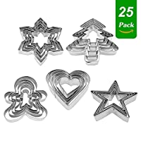 Christmas Cookie Cutters, 25 Piece Xmas Biscuit Cutters, Stainless Steel Pastry Cutter - Christmas Tree, Gingerbread Man, Snowflake, Star, Heart Shape for Fondant DIY Baking