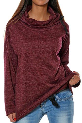 La Femme Automne - Hiver Un Pull À Capuchon Pull Mobiles Solides Sweat Haut De La Page Winered