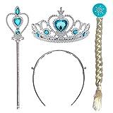 CQDY Prinzessin ELSA Dress up Party Zubehör 3 Set Tiara Krone Perücke Zauberstab für Mädchen