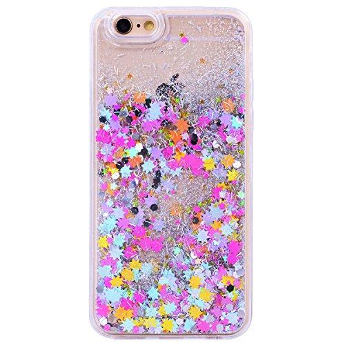 CE-Link Cover per Apple iPhone 6 Plus 6S Plus con Liquido Glitter + Screen Protector Luminoso, Custodia Rigida iPhone 6 Plus Trasparente Cristallo Back Quicksand, iPhone 6S Plus Case Protettiva con Sp Colorato