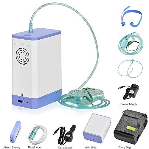 HUKOER Sauerstoffkonzentrator, 3 l/min 30{84462c903a89f980648c22e54d0723024a40250488c9ea4035ccd36a0804523d} Reinheit tragbare Sauerstoffmaschine Luftbefeuchter Luftreiniger mit Akku für Auto/Home/Travel -AC 220V