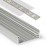 2m Aluprofil WIDE (WI) 2 Meter Aluminium Profil-Leiste eloxiert für LED Streifen - Set inkl Abdeckung-Schiene durchsichtig-klar mit Montage-Klammern und Endkappen (2 Meter transparent slide)