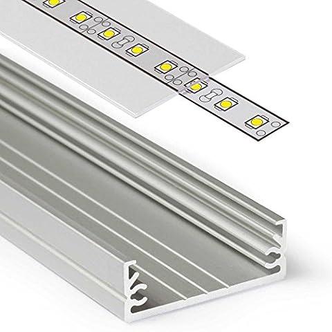 2m Aluprofil WIDE (WI) 2 Meter Aluminium Profil-Leiste eloxiert für