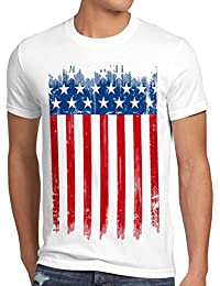 style3 USA Drapeau National T-Shirt Homme états-Unis d amérique us stars stripes