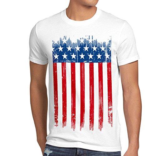 style3 USA Flagge Herren T-Shirt banner vereinigte staaten von amerika us stars stripes, Größe:XXL, Farbe:Weiß (And Stripes-flagge Stars)