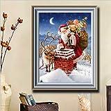 5D Diamant Painting Weihnachtsmann Weihnachten Stickerei Diamant Malerei DIY Kreuzstich Wand-Dekor für Zuhause Erwachsene DIY Ölgemälde für die Familie. Spaßgeschenke für Ihre Eltern 30 x 40 cm