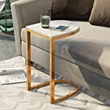Couchtisch Kaffeetisch Esszimmertische Marmor Gold Metall Chassis Couchtisch Sofa Wohnzimmer Haushalt 45 * 35 * 60cm Tingting (Farbe : Weiß)