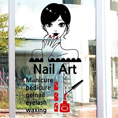 Ankunft Maniküre Vinyl Wand Sexy Girl Nails Wandbild Wandaufkleber Nagelstudio Fensterglas Raumdekoration 60X90 cm