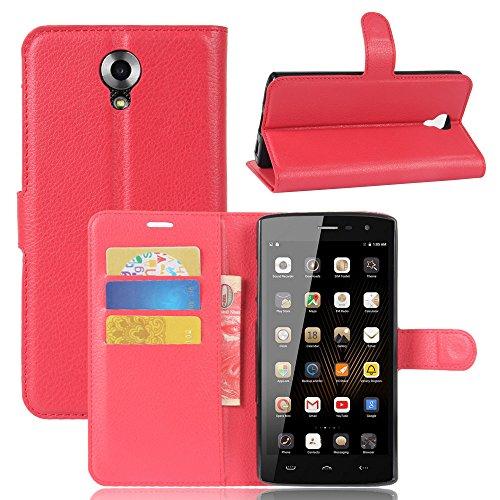 GARITANE Homtom HT7 Hülle Case Brieftasche mit Kartenfächer Handyhülle Schutzhülle Lederhülle Standerfunktion Magnet für Homtom HT7 (rot)