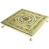 TULMAN Meenakari Puja Bajot Table Chaurang Chowki Ganpati Sinhasan for Gift Festival Vastu Pujan (12x12x2 inch)