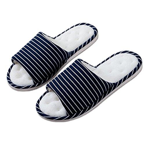 Chaussons DWW Pantoufles maison en coton pour hommes intérieur et extérieur anti-dérapant printemps et automne doux chaussures en lin Pattern 1