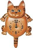Reloj de pared, diseño de animal de piel auténtica Cat * vanca * Fabricado en Japón