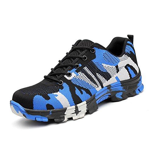 Drecoture Sicherheitsschuhe Arbeitsschuhe mit Stahlkappe Atmungsaktiv Leicht für Herren und Damen Trekking Schutzschuhe Outdoor Sneaker