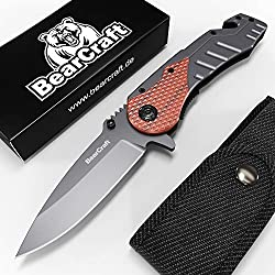 BearCraft Couteau Pliant avec ** eBook GRATUIT ** | Couteau de Survie en Plein Air avec Insert en Bois | Petit Couteau Pliant en Acier Inoxydable | Idéal Pour les Loisirs, Randonnée Pédestre