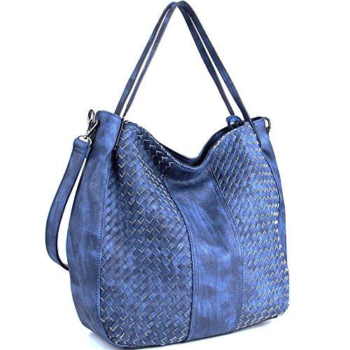 WISHESGEM Handtaschen Damen Schultertaschen Umhängetaschen Cross-body Hobo Henkeltaschen PU Leder Taschen Große Weave (L:45cm * H:35cm * W:13cm) Blau