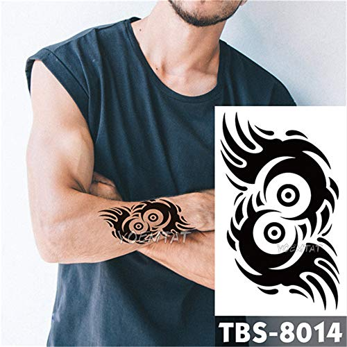 tzxdbh 3 Unids Impermeable Tatuaje Temporal para Hombres Fuego Tatoo águila Loto Mandala Ojo Totem de Llama 12 * 19 cm Tatuaje de Transferencia de Agua para Hombre 3 Unids-