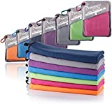 SYOURSELF Microfiber Sports & Travel Towel- XL, L, M, S -Fast Dry, Lightweight, Absorbent, Soft - Perfect for Beach Yoga Fitness Bath Camping + Travel Bag &Carabiner