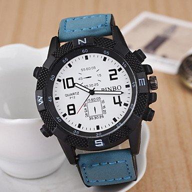 FENKOO Herren Armbanduhr Quartz Leder Band Blau/Rot/Braun Marke-