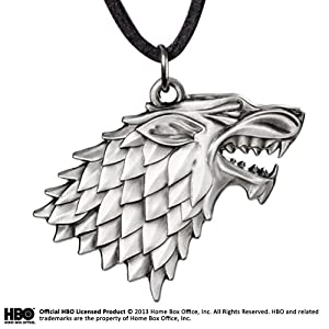 Noble Collection- Stark Escudo Colgante Cordon Cuero Game of Thrones, (NOBGOTN0085)