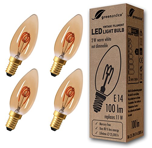 4x greenandco® Vintage Glühfaden LED Kerze ersetzt 11W E14 2W 100lm 2000K extra warmweiß 360° 230V flimmerfrei, nicht dimmbar, 2 Jahre Garantie - Amber Glühlampe Kronleuchter