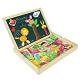 Best Learning Toys For 5 Year Old Boys - Wooden Jigsaw Puzzles Double Sided Magnetic Writing Board Review