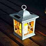 White Solar Powered LED Wooden Effect Candle Lantern With Hoop