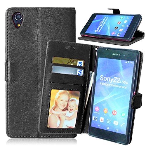 Sony Xperia Z2 Tasche Schwarz+Kostenlos Syncwire Ladekabel,FUBAODA Leder Hülle,Flip Leder Money Karte Slot Brieftasche, Kartenfächer Ständerfunktion Hülle für Sony Xperia Z2(D6502 D6503 L50W)(schwarz)