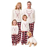 Riou Weihnachten Set Baby Kleidung Pullover Pyjama Outfits Set Familie Mama Papa Kinder Santa Deer Tops Bluse Hosen Familie Pyjamas Nachtwäsche (S, Mom)