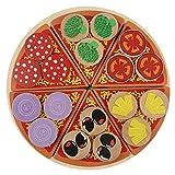 Holz Pizza Lebensmittel Spielzeug, Sicher ungiftig Holz Pizza Lebensmittel DIY Spielzeug Set Rollenspiel Spielzeug für Kinder Kinder Lernen & Pädagogisches Geschenk
