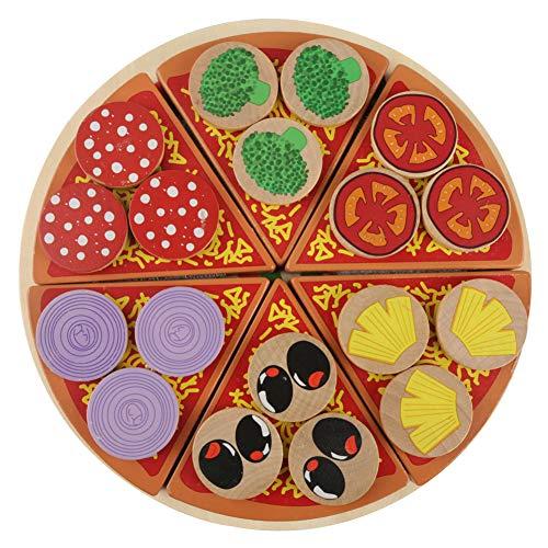 tel Spielzeug, Sicher ungiftig Holz Pizza Lebensmittel DIY Spielzeug Set Rollenspiel Spielzeug für Kinder Kinder Lernen & Pädagogisches Geschenk ()