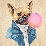 Fine Art Print–Ein Blowing Bubble Französische Bulldogge von Art in Motion, 34 x 34