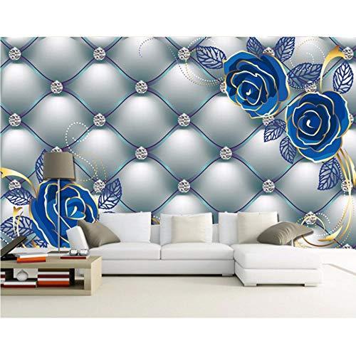 ropäischen Stil Wandbilder 3D Wandbild Blaue Rose Weiche Tasche Diamant Tapetenwandbilder Tv Sofa Wandverkleidung Wandbild-400X280Cm ()