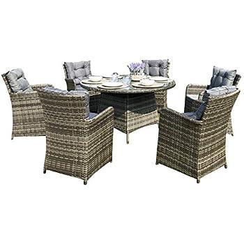 Nova Outdoor Living Amelia Rattan 6 Seat Dining Set Brown