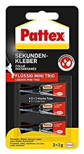 Pattex Sekundenkleber Flüssig Mini Trio, spülmaschinenfester Superkleber in 3 praktischen Tuben, schnelltrocknender farbloser Flüssigkleber, 3 x 1g