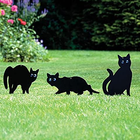 Parkland Paquete de 3 Gato De Metal (Pájaro, Animal,Fox, Plaga) Espantapájaros, Ahuyentador, Roedor, Detergente Jardín