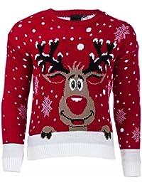 ENFANTS NOËL renne RUDOLPH gelée NOËL CAVALIER pullover 3- 14 ANS KIDS PULLOVER CHRISTMASS