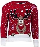 Als Geschenkidee zu Weihnachten bestellen Für die Freundin - FRAUEN WEIHNACHTEN RUDOLPH Rentier AUS GEWIRKEN LONG SLEEVE WEIHNACHTEN JUMPER PULLOVER 36-42 EU (M/L (EU 40-42), ROT (RED))