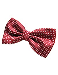 "Mens Polka Dot Spotty Satin Bow Tie up to 17"" (Red)"