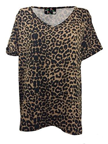 Neu Damen Ausgebeultes Top V Ausschnitt Locker Locker Oben Gekrempelt Kurzärmelig T-shirt UK 8-30 Brown Leopard