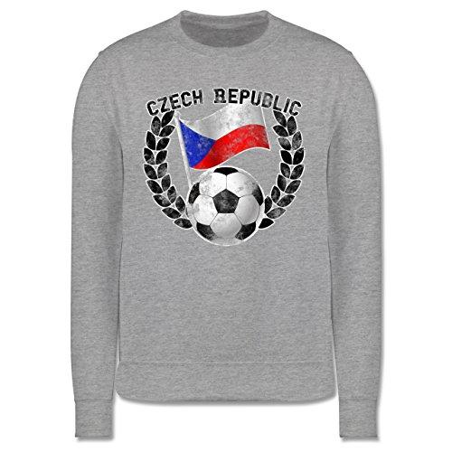 EM 2016 - Frankreich - Czech Republic Flagge & Fußball Vintage - Herren Premium Pullover Grau Meliert