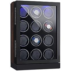 Klarstein Klagenfurt Uhrenbeweger Uhrendreher Uhrenbox (für 12 Automatikuhren, Holzkorpus, Samt-Auskleidung, Schaumkissen, leise, abschließbar) schwarz